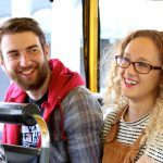 happy couple on a london duck tour
